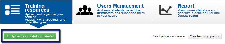 Upload training materials