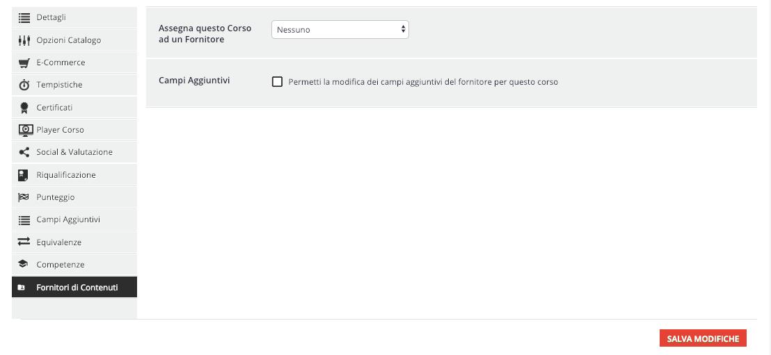 Configurazione Fornitore di Contenuti