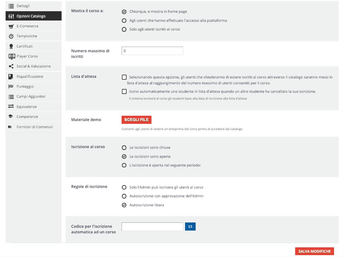 Configurazione Opzioni Catalogo