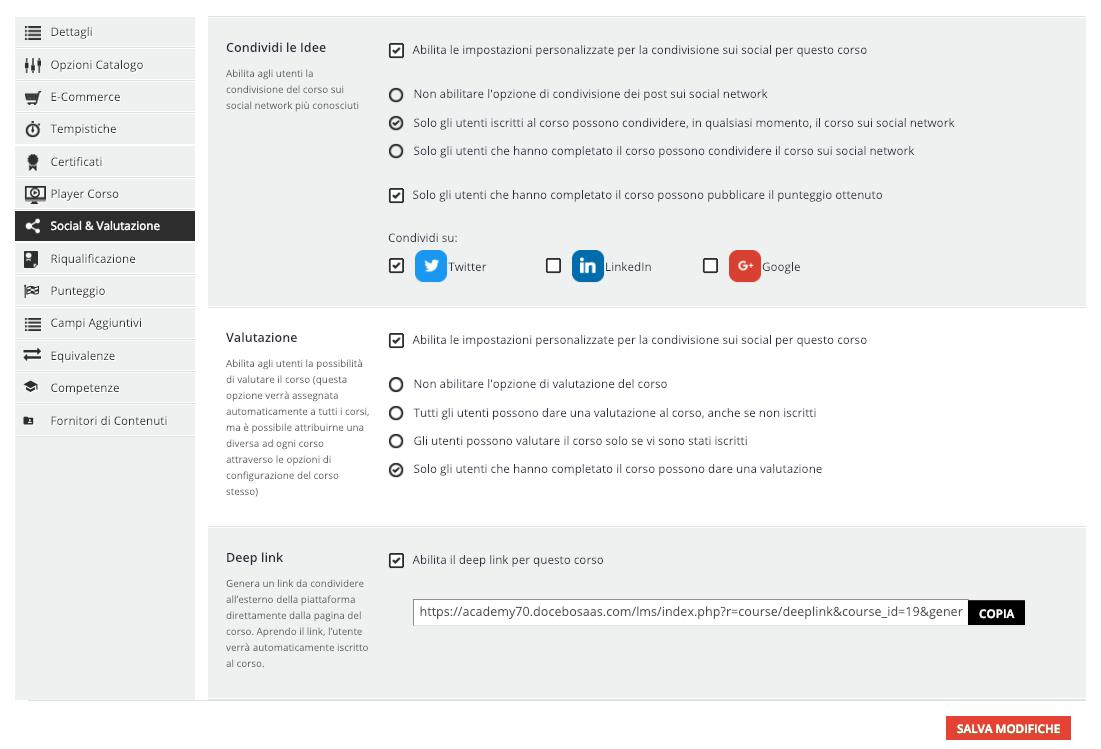Configurazione Social & Valutazione