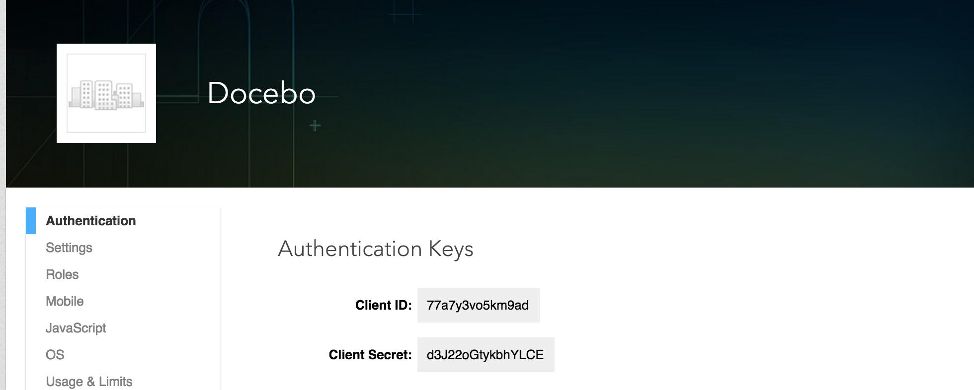 linkedin Authentication Keys