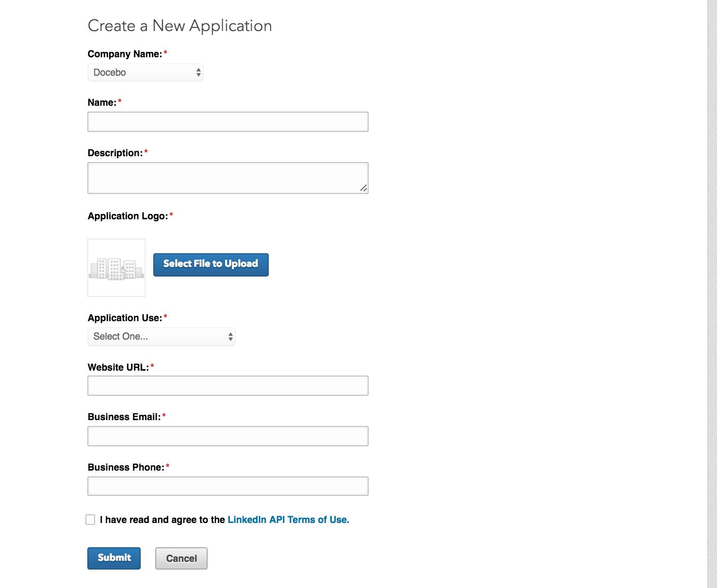 linkedin create a new app