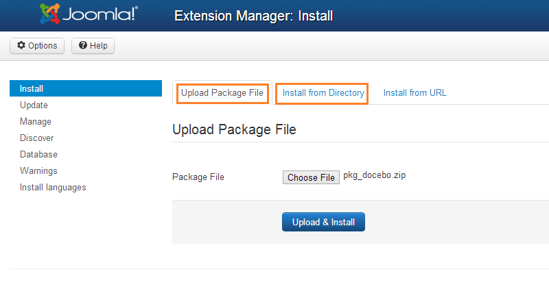Extension manager: install