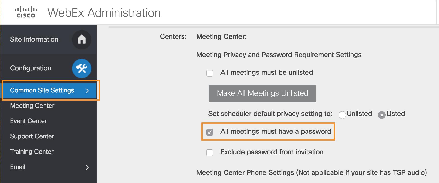webex common site settings