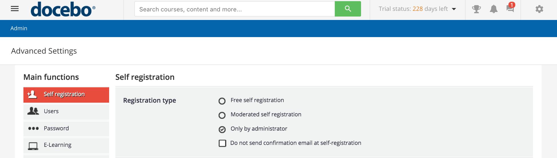registration only admin