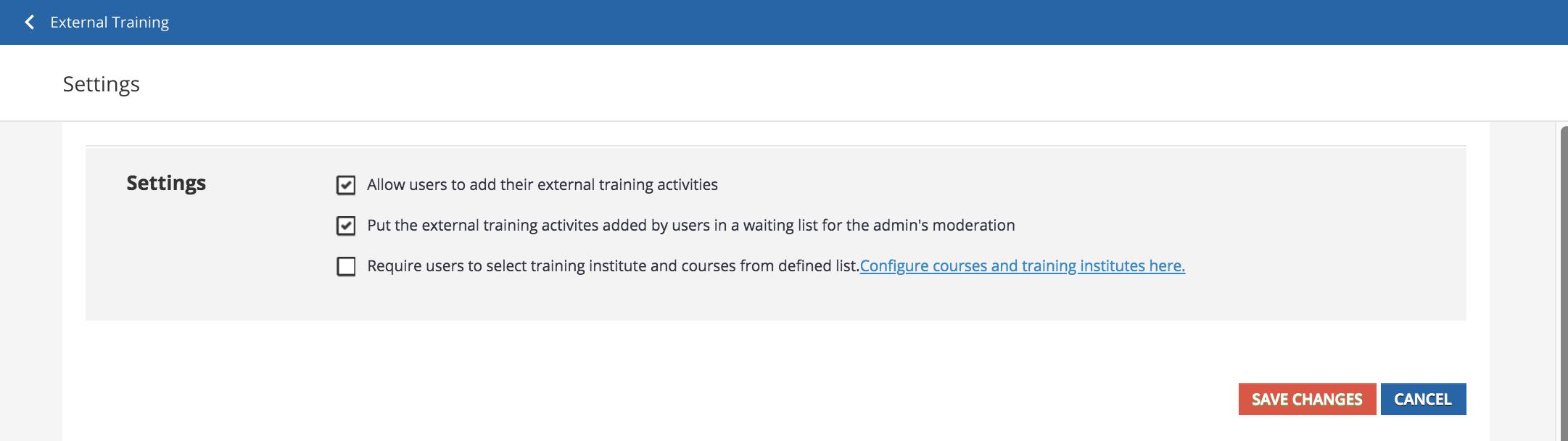 external training settings