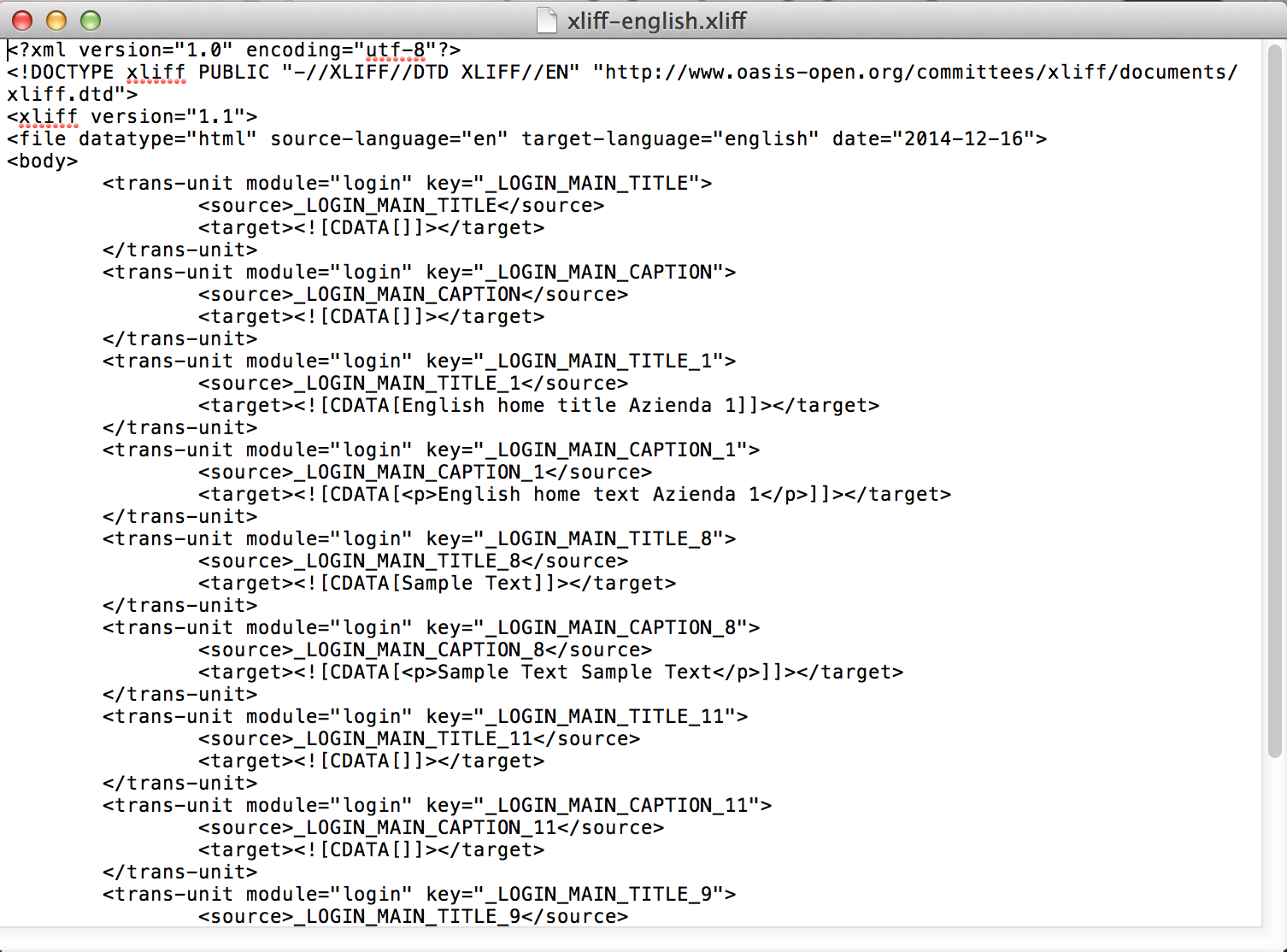 localization xliff file