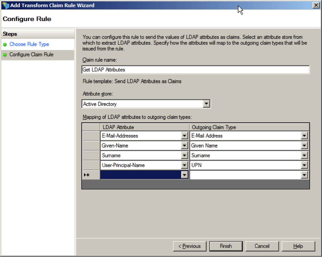 ADFS configure claim rule