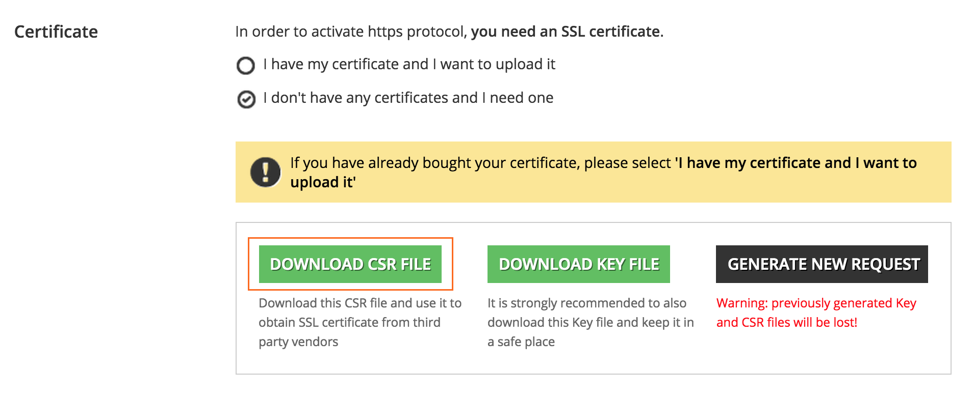 https Download CSR file
