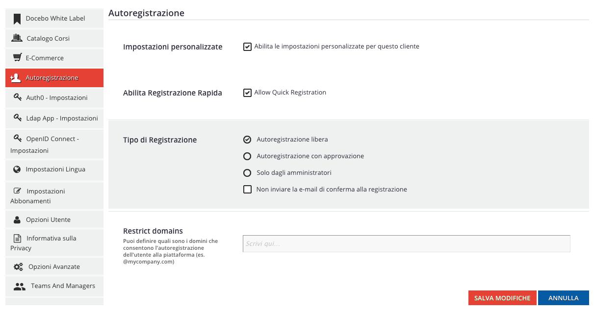 Multidomain - Autoregistrazione