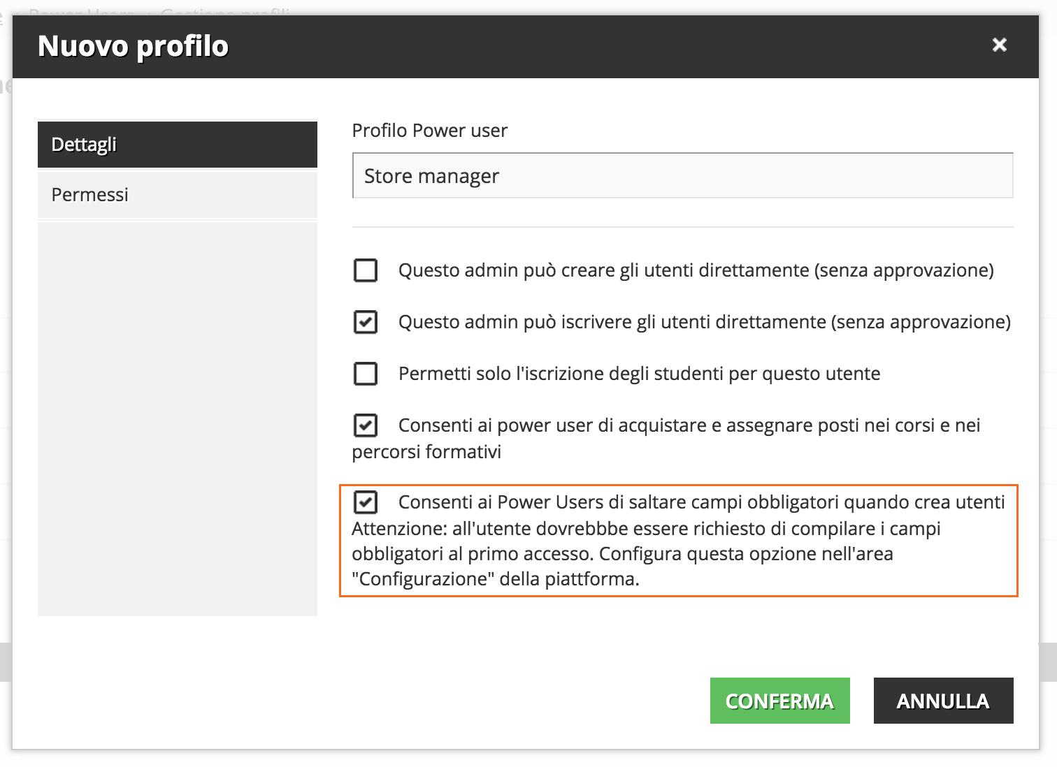 Nuovo profilo Power user