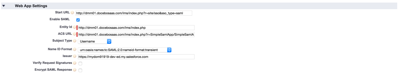 salesforce sso webapp settings
