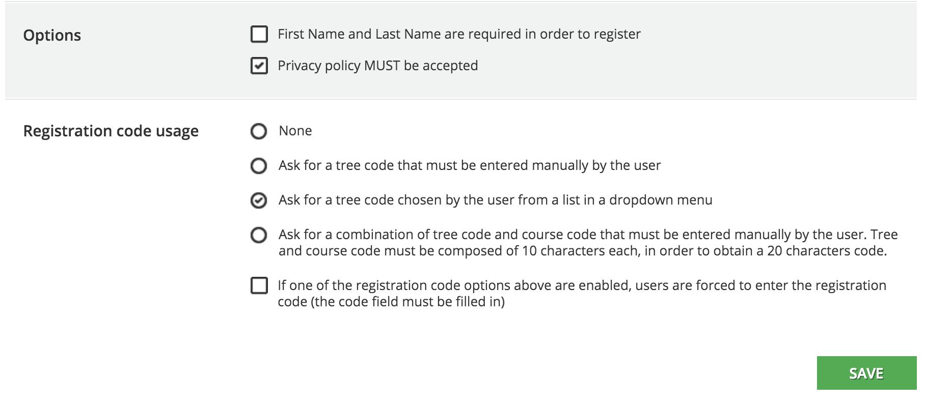 user registration Options