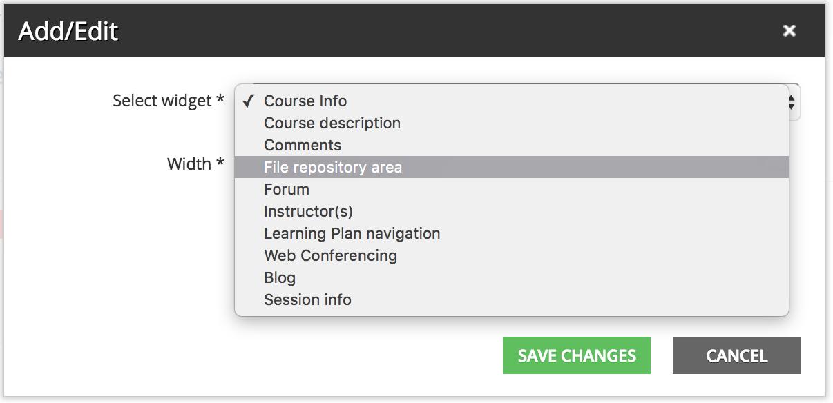 select file repository area widget