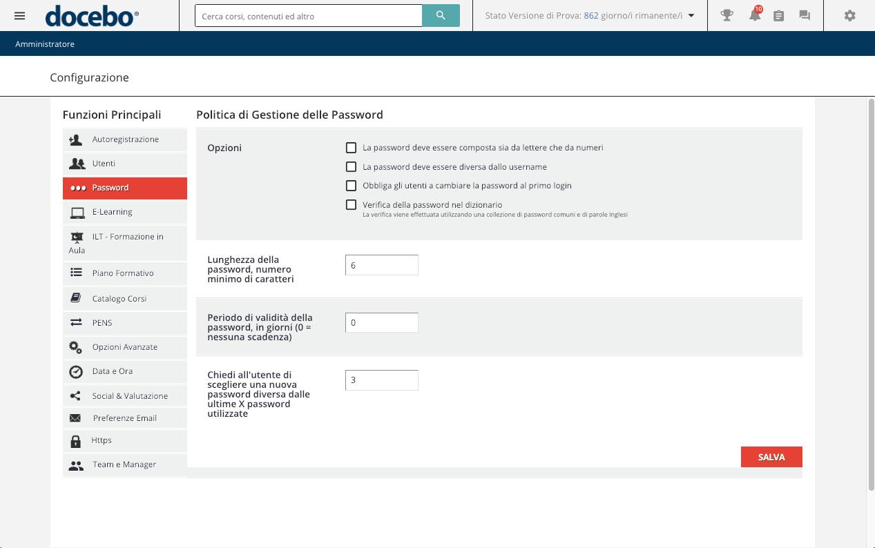 Configurazione Password