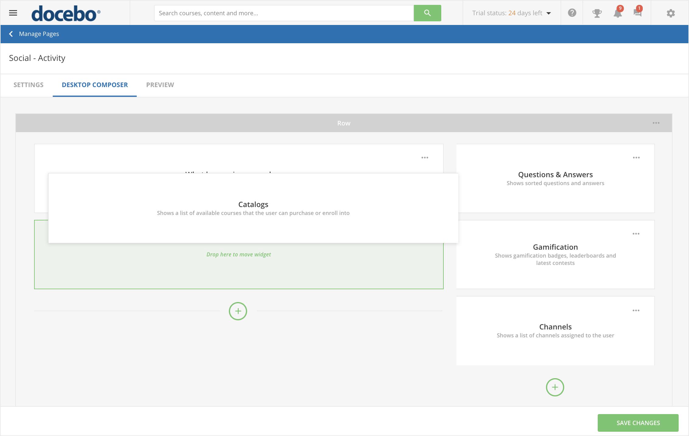 Personalice su plataforma LMS con widgets de arrastrar y soltar