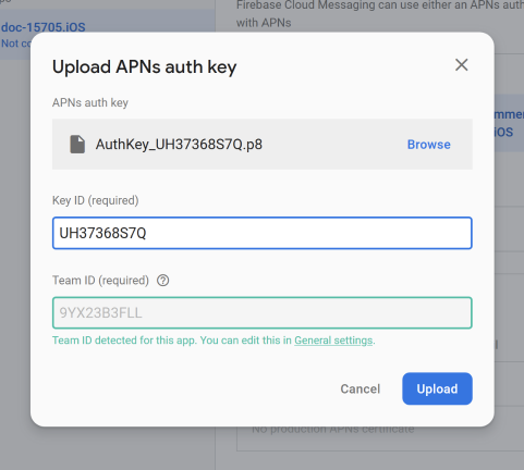 upload APNs auth key